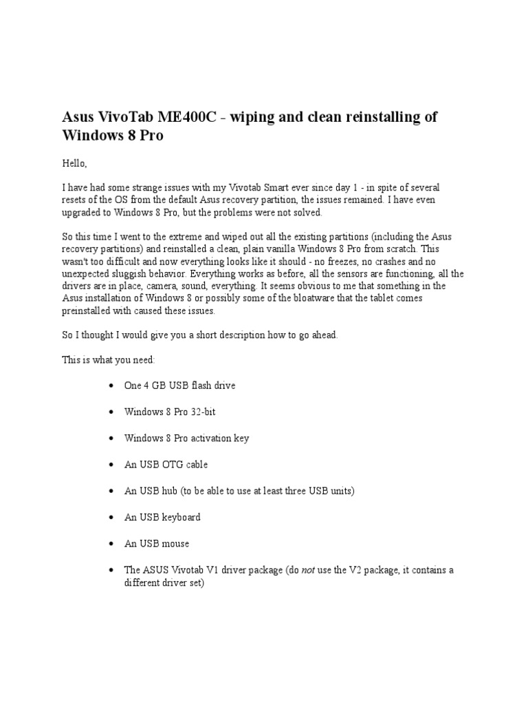 Asus VivoTab ME400C Install Win 8 Pro | Windows 8