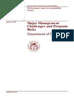 Major management challenges and programs risks