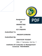 Assignment of Marketing on Ice Cream by Ghayoor Yousaf