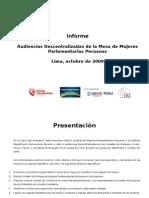 Informe de las Audiencias Descentralizadas de la MMPP