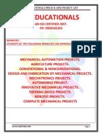 Ss Edu Mechanical Live Projects List of 2014 New