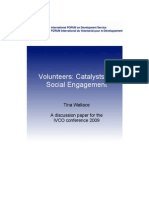 FORUM Discussion Paper 2009 Volunteers Catalysts for Social Engagement