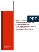 Impact Evaluation of a Youth Job Training Program in the Dominican Republic; Ex-Post Project Evaluation Report of the Labor Training and Modernization Project (DR0134)