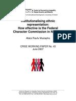 Institutionalising ethnic representation