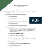 Model of Operation Identification Sheet