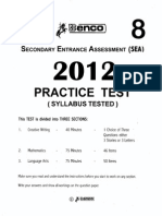 SEA Practice Test BENCO 2012 #8 Blank (00381901)