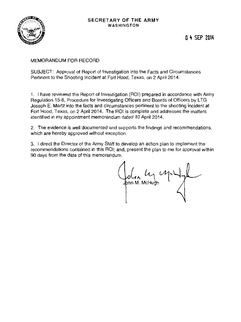 Fort Hood Shooting Report Of Investigation Redacted