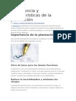 Importancia y Características de La Planeación