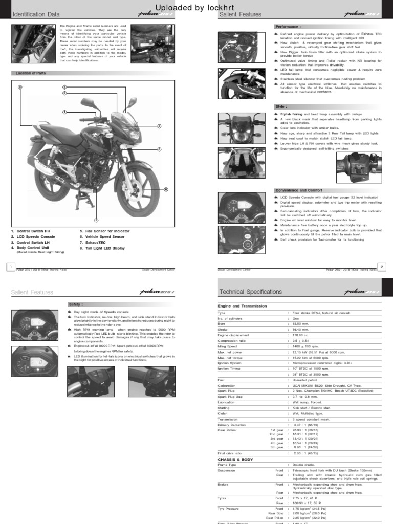 Pulsar 180 Dts I Ug3 Training Notes A Owners Motor Oil Brake Led Or Lamp Pulser Circuit