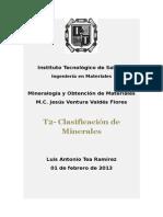T2 - Minerales clasificación