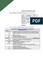 Resolução Calendário Acadêmico 2015