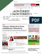 23-01-15 'Amarra' Adrián de La Garza Candidatura a Monterrey - Grupo Milenio