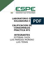 LABORATORIO de SOLDADURA III Calificacion de Consumibles