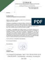 Carta de Felicitación al Presidente de Bolivia, Evo Morales.