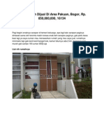 Iklan Rumah Dijual Di Area Pakuan, Bogor, Rp. 850,000,000, 16134 - www.rumahku.com