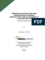 Pengaruh Motivasi Dan Gaya Kepemimpinan Terhadap Produktivitas Kerja Karyawan Cv Citra Jaya Motor