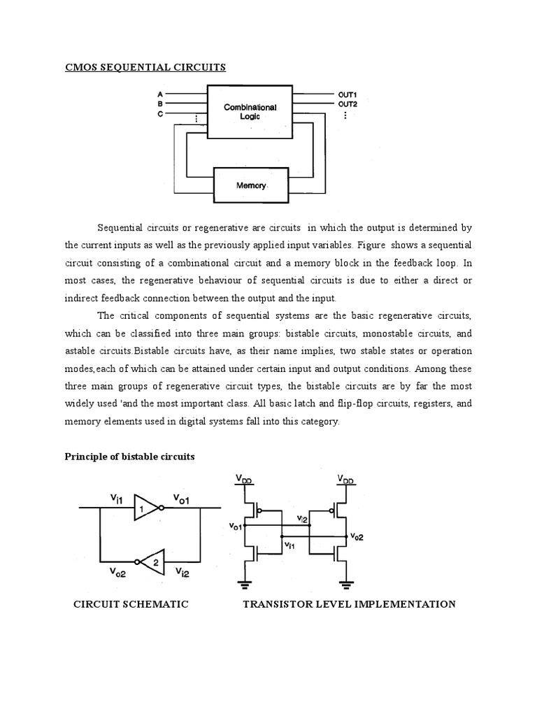Cmos Sequential Circuits Mosfet Bistable Latching Circuitry