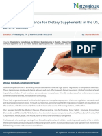GCPseminar on Regulatory Compliance for Dietary Supplements in the US, EU and Canada