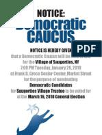 Saugerties Village Democrats Caucus Poster