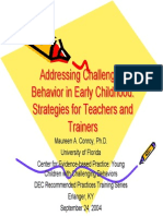 Addressing Challenging Behaviour in Preschool