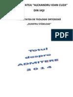 Brosura Admitere Licenta - Iulie 2014 - Cu Nr de Locuri