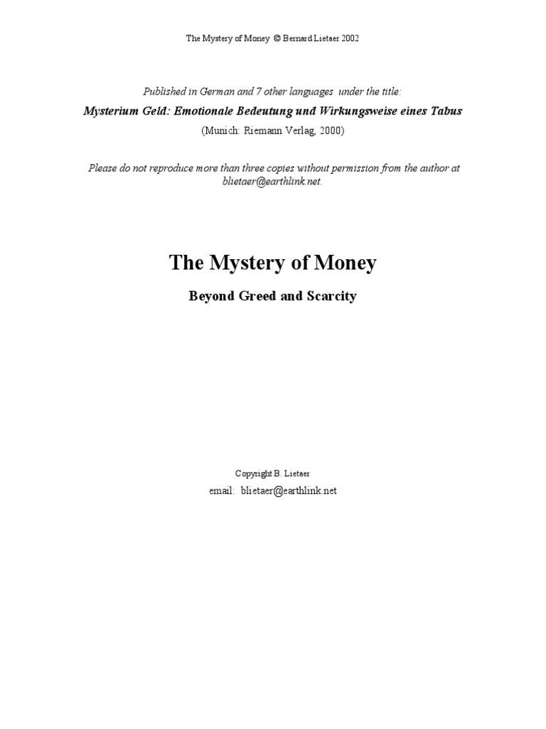 mystery of money by bernard lietaer shadow psychology