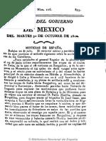 Gazeta Del Gobierno de México. 30-10-1810 CURA HIDALGO