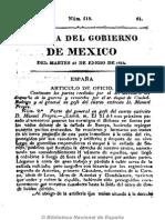 Gazeta Del Gobierno de México. 18-1-1814 Realistas Capturan Estandarte