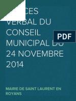 Proces Verbal du Conseil Municipal du 24 novembre 2014