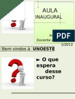 00 Aula Inaugural 1_2013 - Sociologia