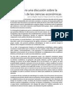 Aportes Para Una Discusión Sobre La Concepción de Las Ciencias Económicas