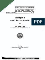 Cohn - Religion Und Kulturwerte