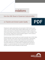Subcommittee on Teacher Quality Recommendations