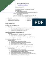 jessica ren basham professional resume for weebly