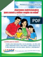 Recomendaciones nutricionales para niños y niñas según su edad - VALLE