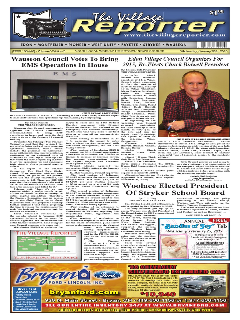 The Village Reporter - January 28th, 2015 pdf   Newspapers   Plea