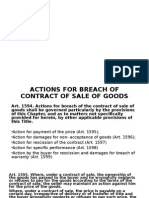Action of Breach and Extinguishment of Sale