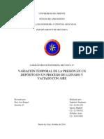 Variación Temporal de La Presión en Un Depósito en Un Proceso de Llenado y Vaciado Con Aire - Lab 4. Secc