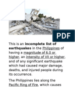 This is an Incomplete List of Earthquakes in the Philippines of Having a Magnitude of 6
