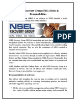 NSEL Recovery Group (NRG) Roles & Responsibilities