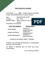 Certificado de Calidad Lote 001