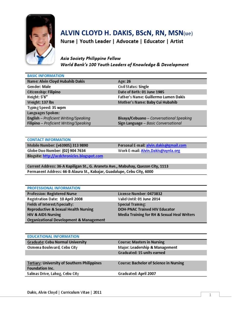 Sample Resume Philippines Nursing