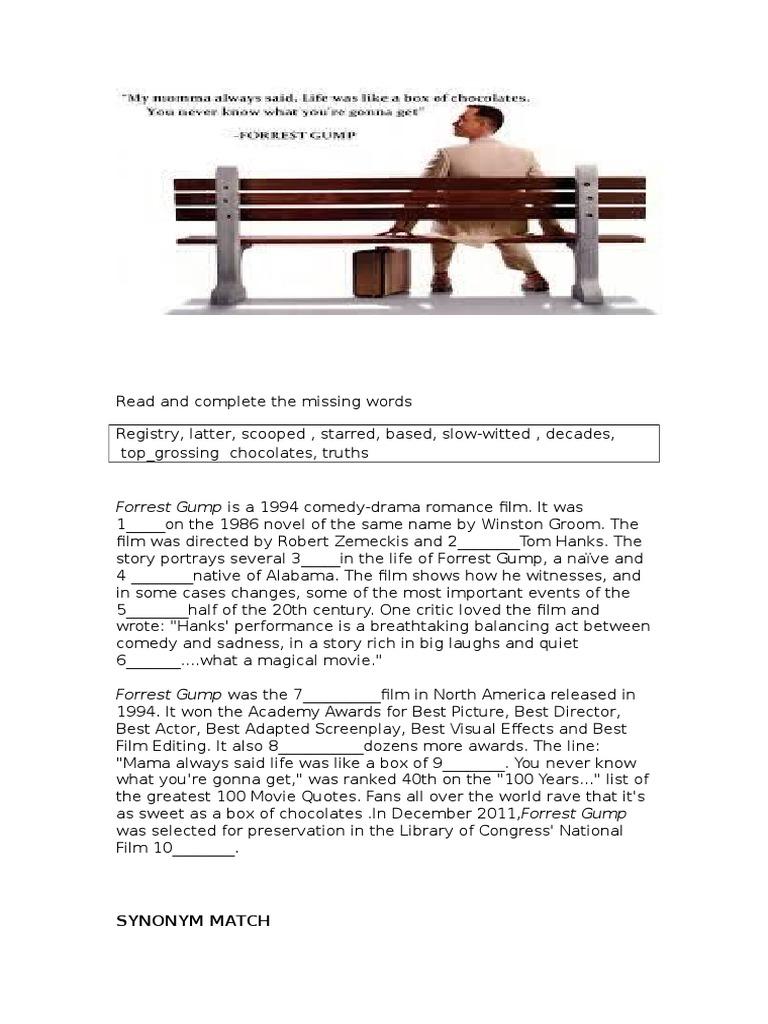 Forrest Gump movie worksheet