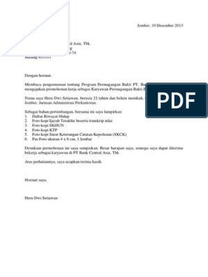Contoh Surat Lamaran Kerja Di Bank Magang Bhakti Bca