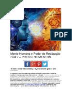 Mente Humana e Poder de Realização Post 7 – PRESSENTIMENTOS