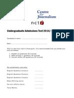 Undergrad Admissions Test Nov 2014