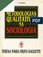 Medologias Qualitativas na Pesquisa Sociológica