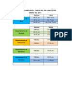 Horarios a Cumplirse a Partir Del Dia Lunes 26 de Enero Del 2015