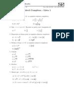 Lista Variáveis Complexas - Números Complexos