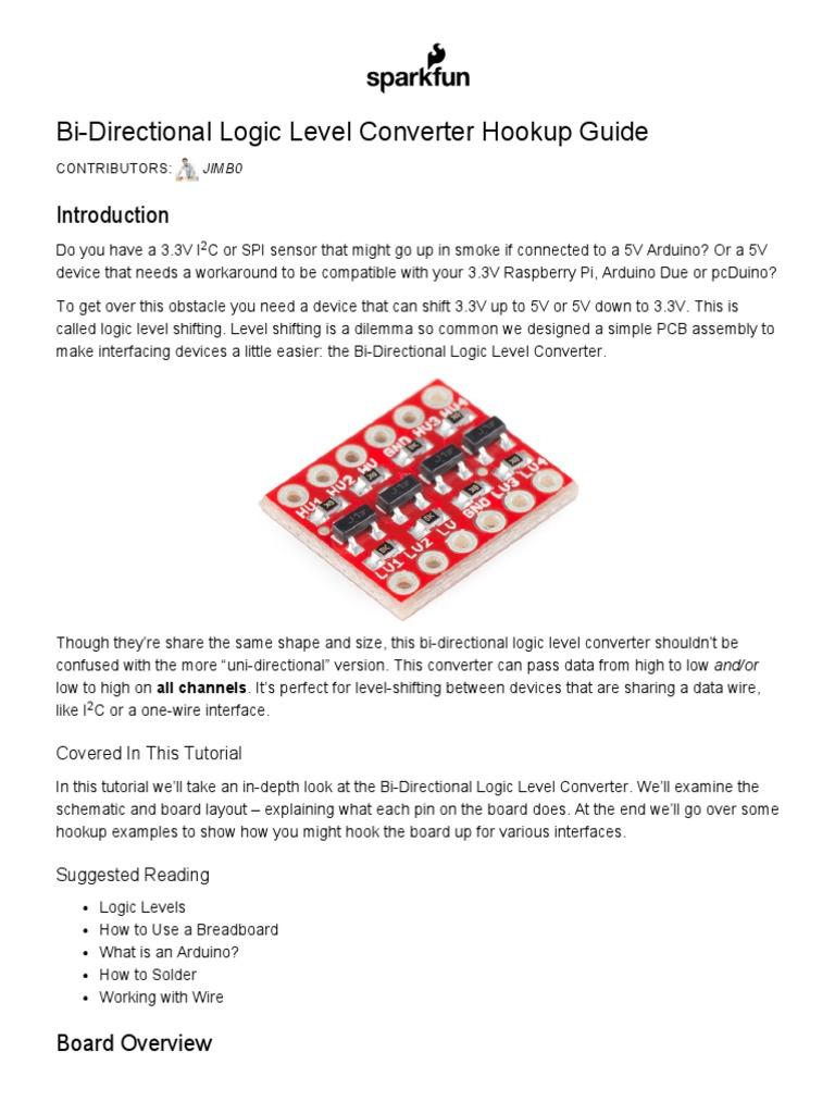 Bi-Directional Logic Level Converter Hookup Guide - Learn.sparkfun |  Arduino | Computer Hardware